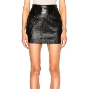 FRAME Black Lamb Leather Noir Mini Skirt